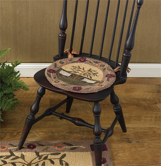 Willow Sheep Hooked Chair Pad