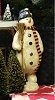 MEDIUM MACHE SNOWMAN WITH BROOM FIGURINE