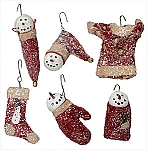 Red Wool and Glitter Snowman Ornament (Set of 6)