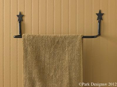 Wrought iron star towel bar for Wrought iron bathroom towel bars
