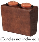 SM SUGAR MOLD CANDLEHLDR W/GLASS VOTIVES (STAIN)
