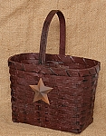 Market Basket with Star - Oval, Burgundy