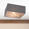 Square Ceiling Light in Blackened Tin