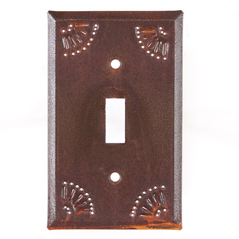 Single Switch Cover W Chisel In Rustic Tin