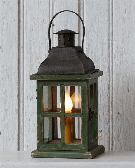 Electric light wooden lantern table lamp