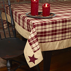 60 X 90 Quot Burgundy Farmhouse Star Tablecloth