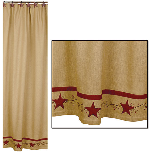 Home Homespun Country Curtains Primitive Star Vine Cotton Burlap Shower Curtain