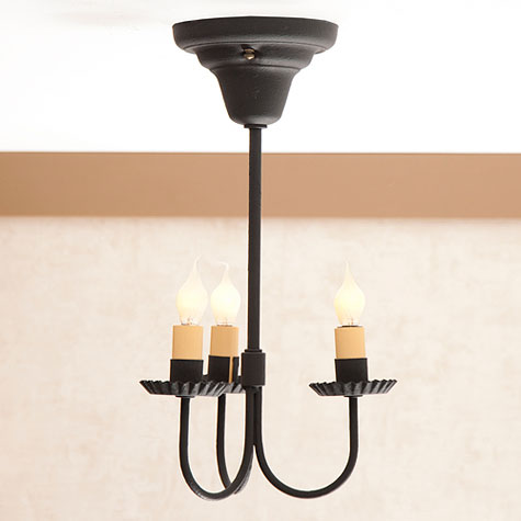 Small 3 arm primitive ceiling light in textured blk