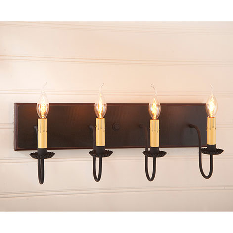 Four Arm Vanity Light in Sturbridge Black with Red