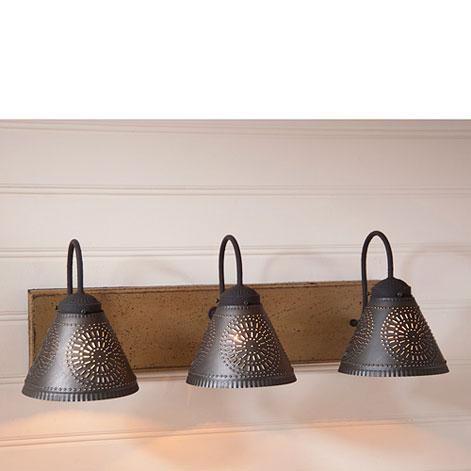 Crestwood vanity light in pearwood - Primitive bathroom vanity lights ...