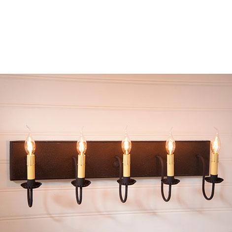 Five Arm Vanity Light in Black