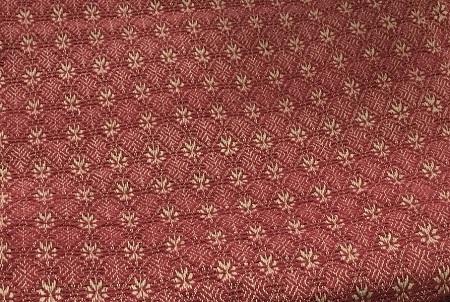 Home Homespun Country Curtains PACKSVILLE ROSE SHOWER CURTAIN CRANBERRY TAN