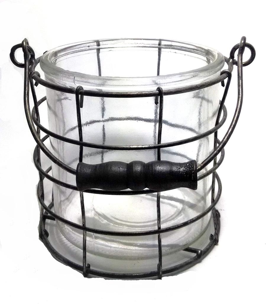 Round Wire Basket with Glass Insert