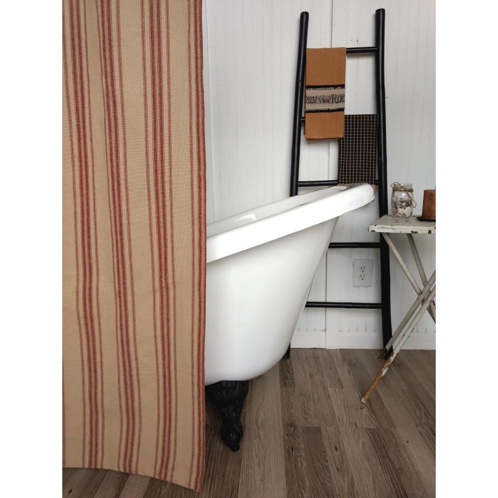 Home Homespun Country Curtains Grain Sack Stripe Oat Barn Red Shower Curtain