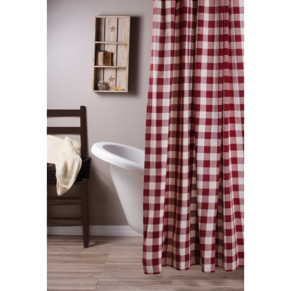 Home Homespun Country Curtains Buffalo Check Barn Red Buttermilk Shower Curtain