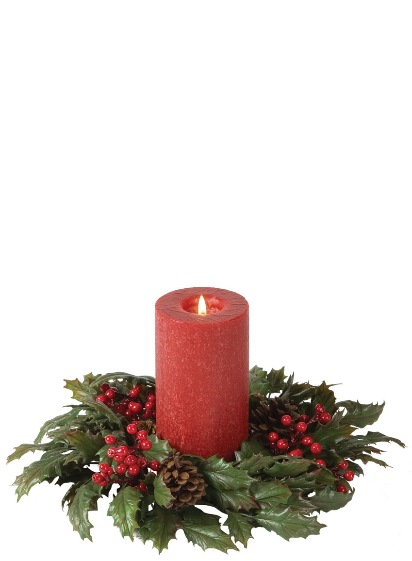 45 holly berry candle ring - Decorative Christmas Candle Rings