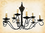 Two Tier Washington Wrought Iron Chandelier with Wood Accent