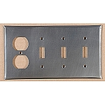 Plain Tin Triple Switch/Single Outlet Combo