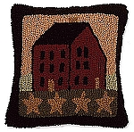 Saltbox House Hooked Wool Pillow