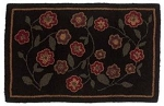 Red Flower Hooked Rug