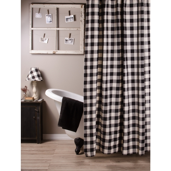 Home Homespun Country Curtains Buffalo Check Black Buttermilk Shower Curtain