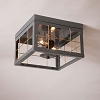 Double Ceiling Light with Brass Bars in Country Tin - No Glass
