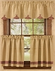 Burlap & Check Lined Scallop Valance - Wine