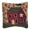 Red House Hooked Pillow Cover