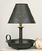 Flat Dish Lamp with Star Shade - Rustic Brown