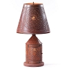 Fireside Lamp Base with Chisel in Rustic Tin