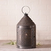 Large Fireside Lantern w/Chisel in Blackened Tin