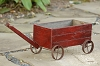 Wooden Cart - Distressed Burgundy Wheels