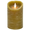 Mystique Taupe Distressed 5 Inch Pillar Flameless Candle