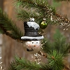 SMALL MERCURY GLASS SNOWMAN WITH HAT ORNAMENT