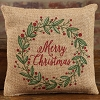 Small Burlap Christmas Wreath Pillow