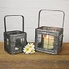 TIN CANDLE BOX - SET OF 2