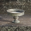 GALVANIZED ROUND SERVER ON WOOD PEDESTAL
