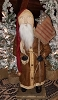 Santa with Brown Coat and Flag