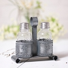 Salt and Pepper Shaker Holder in Antique Tin