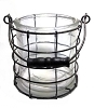 Round Wire Basket with Glass Insert
