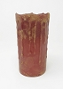 6IN GRUNGY DRIP LED PILLAR CANDLE RED TIMER