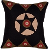 Homespun Star Black Pillow