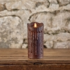 MOVING FLAME 3 IN X 5 IN TOBACCO WAXED PILLAR CANDLE WITH TIMER