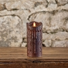 MOVING FLAME 3 IN X 7 IN TOBACCO WAXED PILLAR CANDLE WITH TIMER