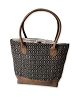 BLACK/TAN JACQUARD & LEATHER TOTE BAG