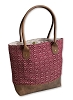 RED/TAN JACQUARD & LEATHER TOTE BAG