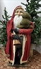 Tall Santa with Red Coat Holding Cloth Tree with Bell