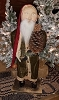 Santa with Green Coat and Pine Cone Tree