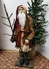 Tall Slim Santa with Brown Coat Holding Snowman with Feather Tree
