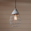 Small Farmhouse Cage Light in Weathered Zinc